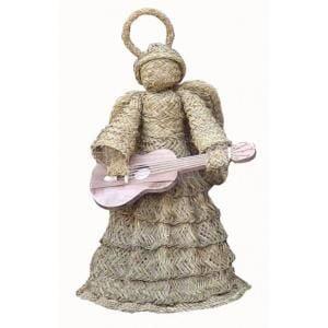 Angel de esparto con guitarra