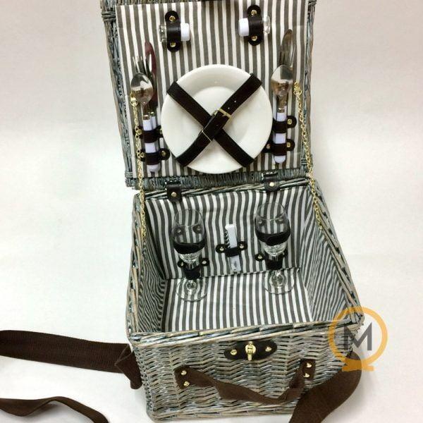 cesta maletin de picnic de mimbre gris