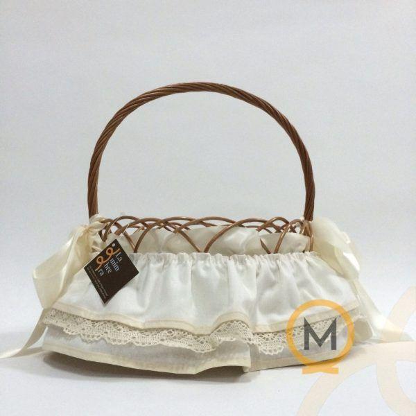 cesta bébe de mimbre barnizado con tela beig