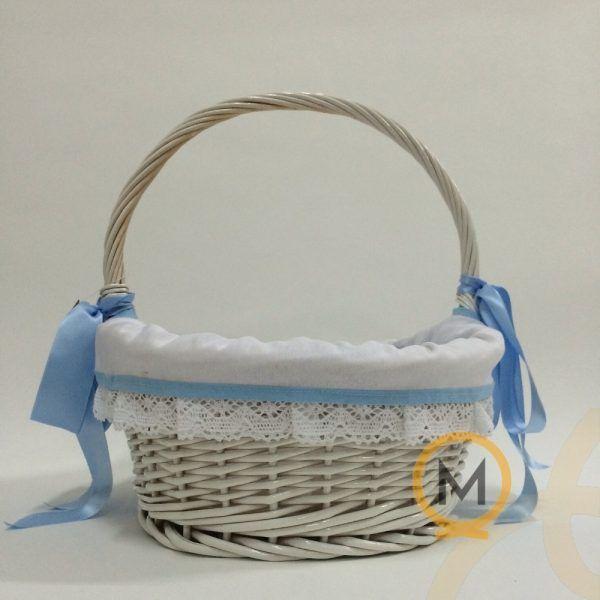 cesta para bebé mimbre blanco con detalles en rosa