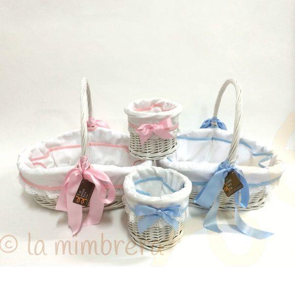 cestas de mimbre para canastilla de bebé