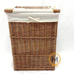 cesto rectangular de mimbre barnizado con tela
