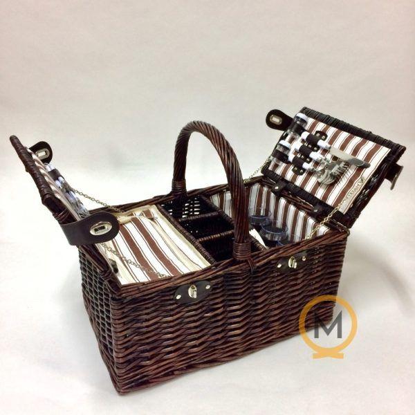 cesta picnic para 4 personas con bolsa térmica y portabotellas
