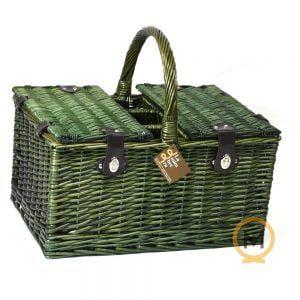 cesta picnic para 4 personas color mimbre verde