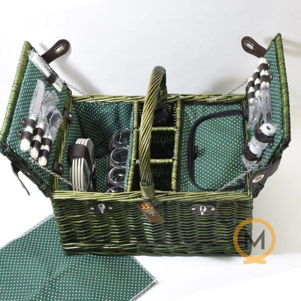 cesta picnic mimbre color verde para 4 personas