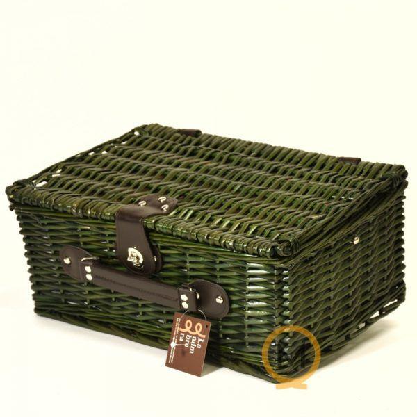 cesta maletín picnic para 4 personas mimbre color verde