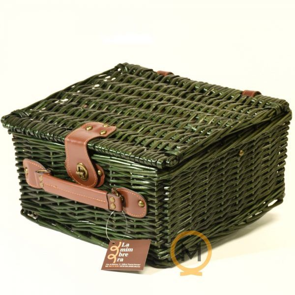 cesta maletin de picnic mimbre verde
