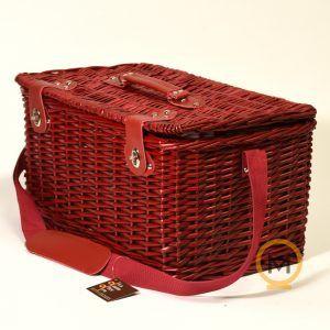 cesta picnic mimbre rojo para 4 personas