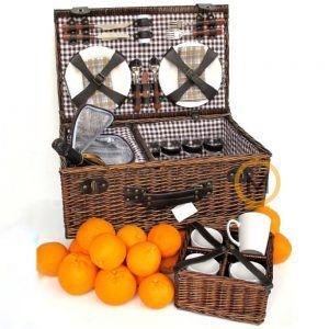 cesta picnic mimbre oscuro con bolsa térmica y porta tazas