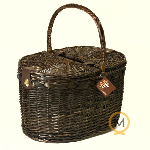 cesta tradicional de picnic mimbre color oscuro