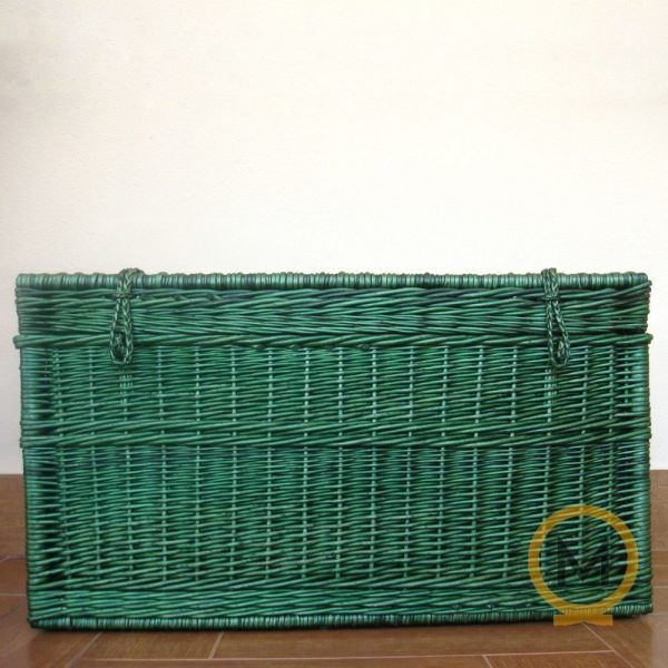 baul de mimbre color verde