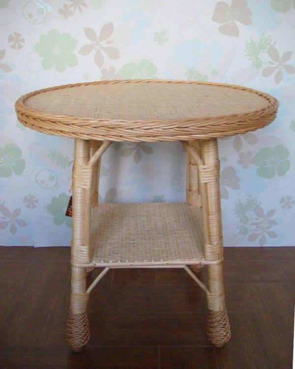 mesa redonda de mimbre natural