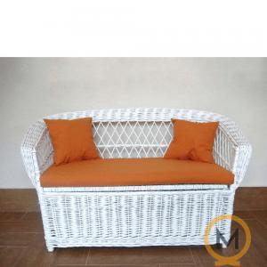 sofa juguetero de mimbre infantil color blanco