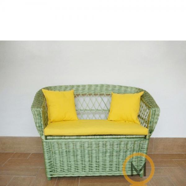 sofa juguetero de mimbre infantil color verde