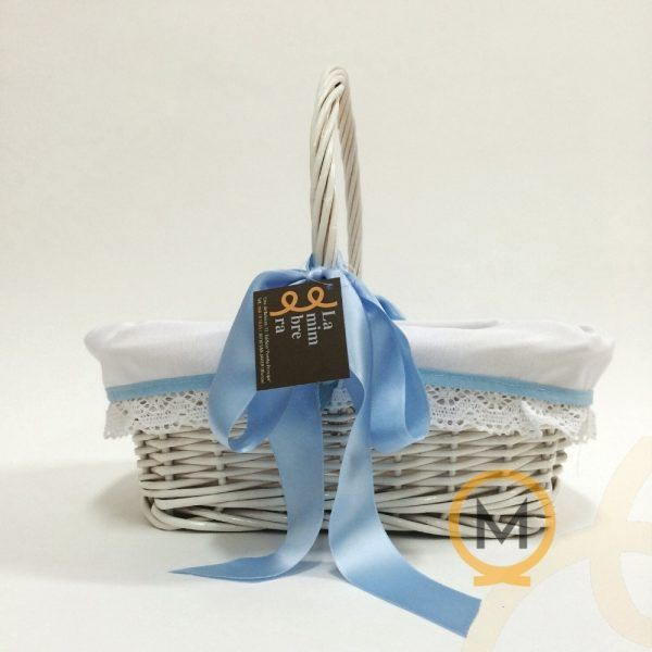 cesta rectangular bebé color blanco