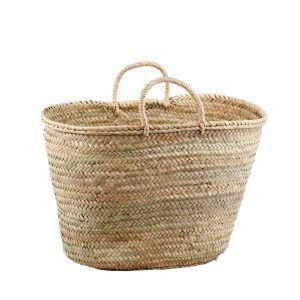 cesta de palma con asa de pita grande